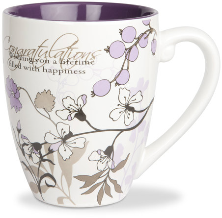 Congratulations by Mark My Words - Mark My Words - extraordinary inspiration for special people and occasions. A wonderful collection by Pavilion Gift of mugs, coaster caps, and inspirational magnets feature elegant floral designs with gorgeous flowing vines and leaves. Mark My Words items integrate a layered look of textured colorful effects, in palettes that are fresh and modern. The beaded handle on the mugs and coaster caps are architecturally embossed to add a designer look... and to collectively merchandise everything together. A custom designed displayer is available which includes a cleverly constructed package idea replicating a coffee-bean bag. Packaging sold separately. Mark My Words... you'll love it!