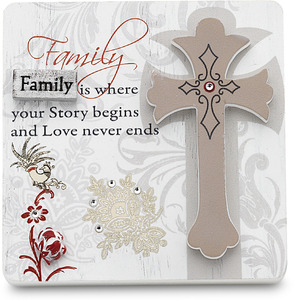 "Family by Mark My Words - 3"" x 3"" Self Standing Plaque"
