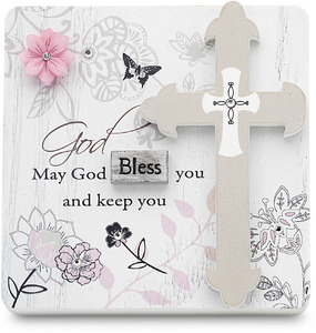 "May God Bless You by Mark My Words - 3"" x 3"" Self Standing Plaque"