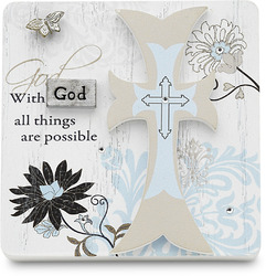 "With God by Mark My Words - 3"" x 3"" Self Standing Plaque"