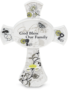 "God Bless our Family by Mark My Words - 3.5"" Self Standing Cross"