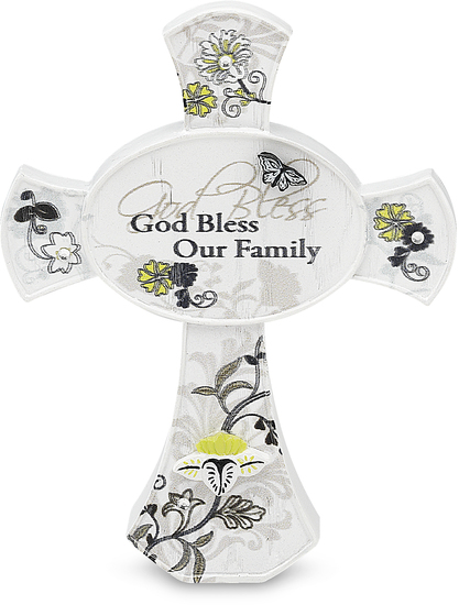 "God Bless our Family by Mark My Words - God Bless our Family - 3.5"" Self Standing Cross"