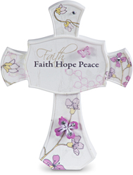 "Faith Hope Peace by Mark My Words - 3.5"" Self Standing Cross"