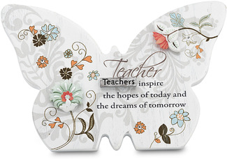 "Teacher by Mark My Words - 4.75""x3.25"" Butterfly Plaque"