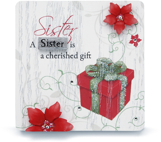 "Sister by Mark My Words - 3"" x 3"" Self Standing Plaque"