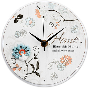 "Home by Mark My Words - 6"" Self-Standing Round Clock"
