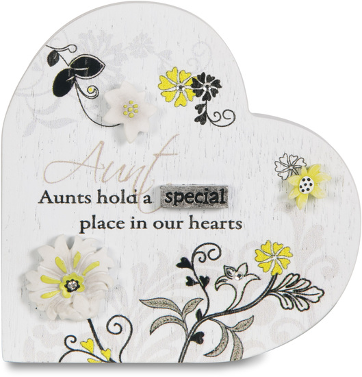 "Aunt by Mark My Words - Aunt - 3"" Self Standing Heart Plaque"