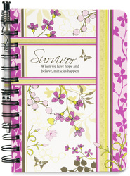 "Survivor by Mark My Words - 5"" x 7"" Journal and Pen Set with Pink coloration to symbolize Breast Cancer Awareness."