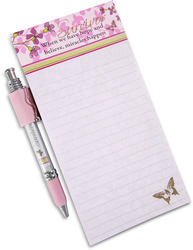 "Survivor by Mark My Words - 4"" x 8"" Magnetic Notepad with Pen with Pink coloration to symbolize Breast Cancer Awareness."
