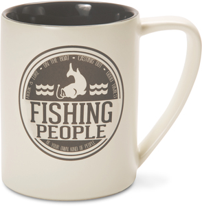Fishing People by We People - 18 oz Tan Coffee Mug