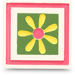 Flower Magnet Block Icon S/6 by Groovy Garden - Set of 6 Square Magnets