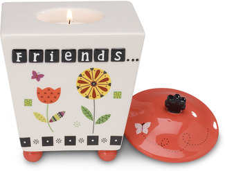 "Friends by Groovy Garden - 5"" Ceramic Tea Light Holder"