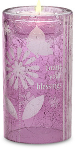 "Blessings w/TL by Groovy Garden - 5""Cyl Glass Tea Light Holder"