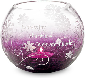 "Celebrate w/TL by Groovy Garden - 5""Rnd Glass Tea Light Holder"