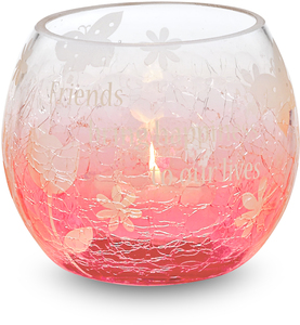 "Friends w/TL by Groovy Garden - 3.5""Rnd Glass Tea Light Hold"