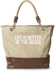 "Life is Better at the Beach by We People - 18"" x 15"" Large Leather Tote Bag"