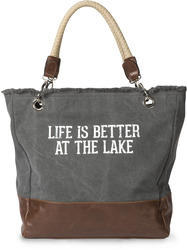 "Life is Better at the Lake by We People - 18"" x 15"" Large Leather Tote Bag"