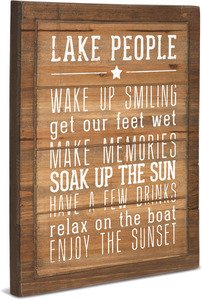 "Lake  People Rules by We People - 12"" x 15"" Wood Sign"