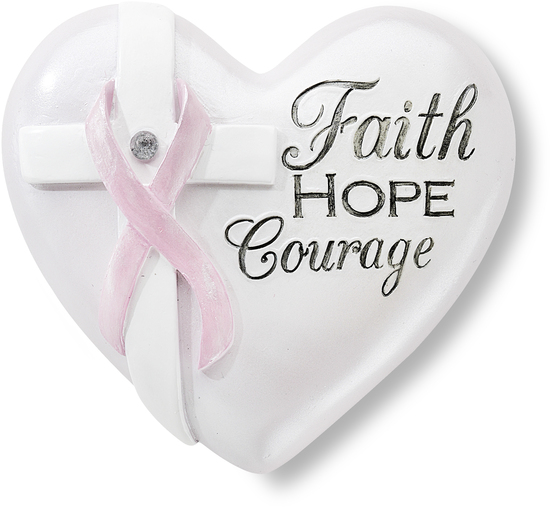 Courage 25 Inspirational Heart With Pink Ribbon And Clear Crystal