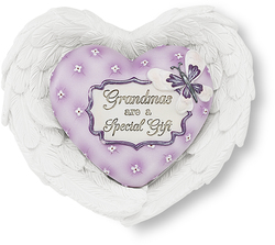 "Grandma by Heart Expressions - 3""x3.5"" Heart/Wing Gift Set"