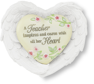 "Teacher by Heart Expressions - 3""x3.5"" Heart/Wing Gift Set"