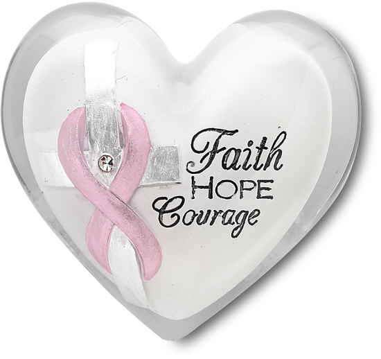 "Courage by Heart Expressions - Courage - 1.5"" Heart Token With Clear Crystal and Pink Ribbon to symbolize Breast Cancer Awareness"