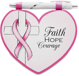 "Courage by Heart Expressions - 4.75""x4""Notepad with Pen in Pink Coloration for Breast Cancer Awareness."