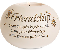 "Friendship by Said with Sentiment - 3.75"" Round Candle Holder"