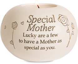 "Special Mother by Said with Sentiment - 3.75"" Round Candle Holder"