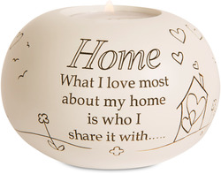 "Home by Said with Sentiment - 3.75"" Round Candle Holder"