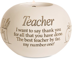 "Teacher by Said with Sentiment - 3.75"" Round Candle Holder"