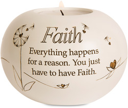 "Faith by Said with Sentiment - 3.75"" Round Candle Holder"