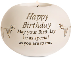 "Happy Birthday by Said with Sentiment - 3.75"" Round Candle Holder"