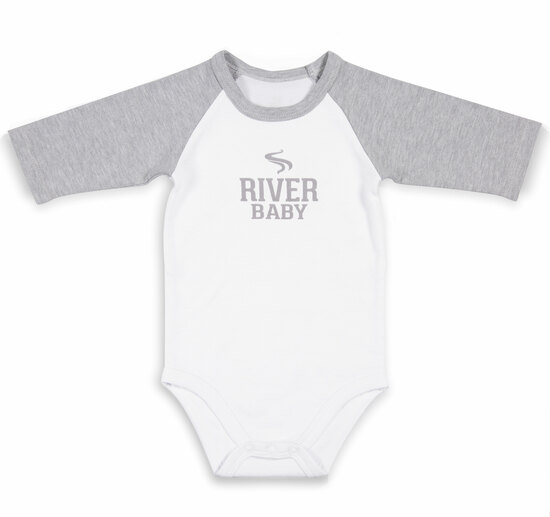 River Baby by We Baby - River Baby - 6-12 Months 3/4 Length Heather Gray Sleeve Onesie
