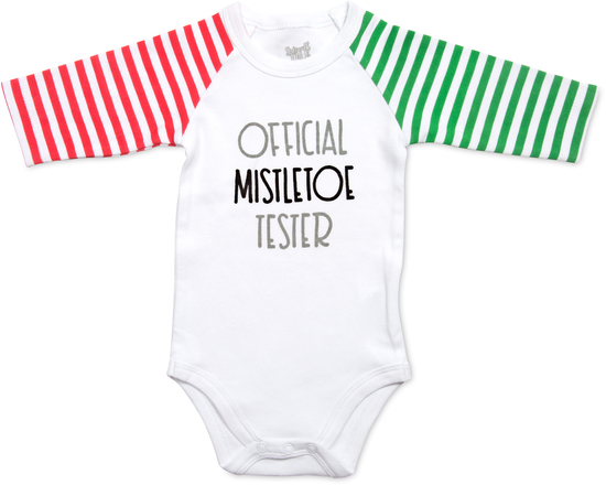 Mistletoe by Sidewalk Talk - Mistletoe - 6-12 Months 3/4 Length Striped Sleeve Onesie