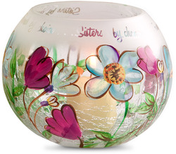 "Sister by Fields of Joy - 5"" Blue Floral Candle Ho"