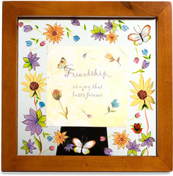 "Friendship by Fields of Joy - 6.5"" Sq. Glass Frame/Pla"