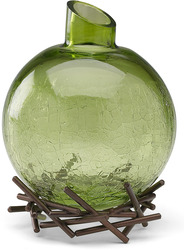 "Sage Green by We Love - 4"" Decor. Glass Vase w/Base"