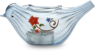"Peace Candle Holder by We Love - 5"" x 2"" Glass Bird"