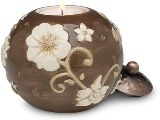 "Cocoa Floral by We Love - 3.75"" Round Candle Holder"