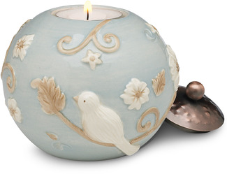 "Ocean Blue Floral by We Love - 3.75"" Round Candle Holder"