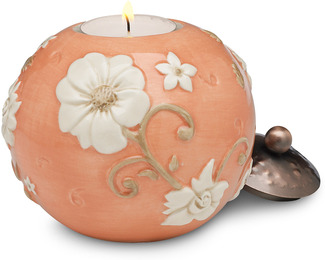"Coral Floral by We Love - 3.75"" Round Candle Holder"