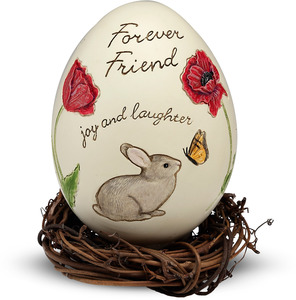 "Forever Friend by We Love - 3.25"" Egg with Rattan Nest"