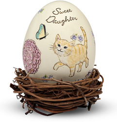 "Sweet Daughter by We Love - 2.5"" Egg with Rattan Nest"