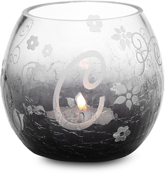 """C"" Glass Candle Holder w/TL by Black Tie - 3.5"" Crackled Glass"
