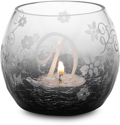 """D"" Glass Candle Holder w/TL by Black Tie - 3.5"" Crackled Glass"