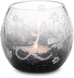 """L"" Glass Candle Holder w/TL by Black Tie - 3.5"" Crackled Glass"