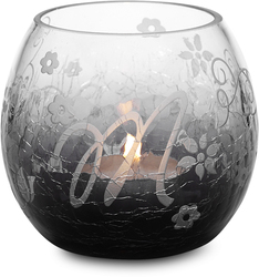 """M"" Glass Candle Holder w/TL by Black Tie - 3.5"" Crackled Glass"