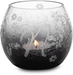 """N"" Glass Candle Holder w/TL by Black Tie - 3.5"" Crackled Glass"