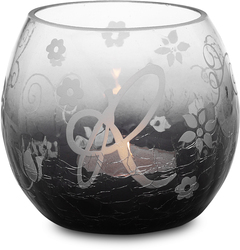 """R"" Glass Candle Holder w/TL by Black Tie - 3.5"" Crackled Glass"
